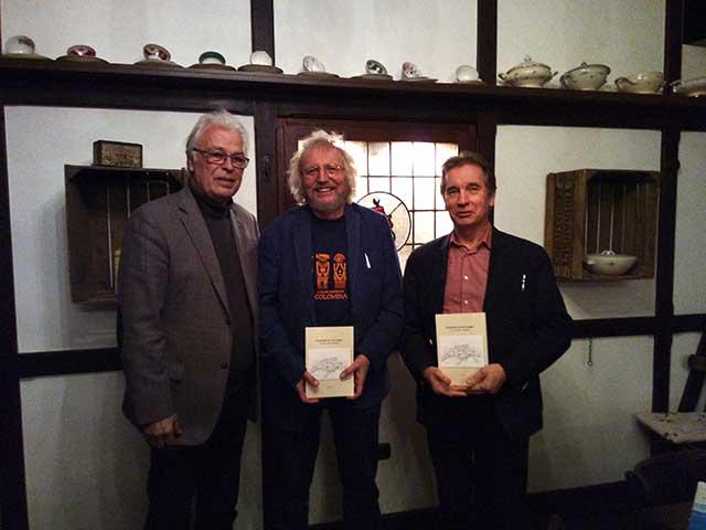 Foto zeigt die Personen in der Alten Schmiede vlnr.: Stadoll, Vogt, Lietz Nach der Veranstaltung