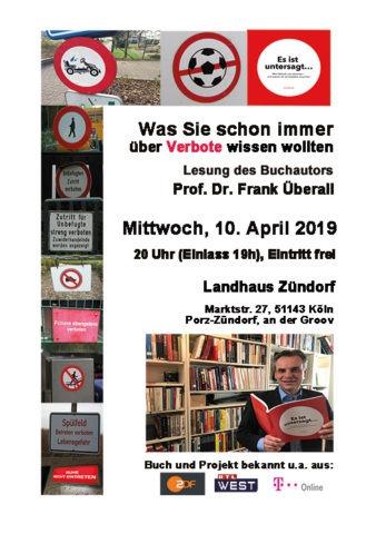 """Vortrag zum Thema """"Verbote"""" im Landhaus Zündorf"""